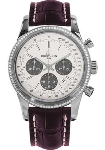 Breitling Watches - Transocean Chronograph Steel - Dia Bezel - Croco Strap - Tang - Style No: AB015253/G724-croco-burgundy-tang