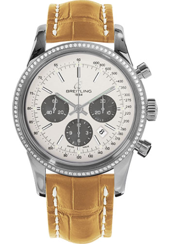 Breitling Watches - Transocean Chronograph Steel - Dia Bezel - Croco Strap - Tang - Style No: AB015253/G724-croco-camel-tang