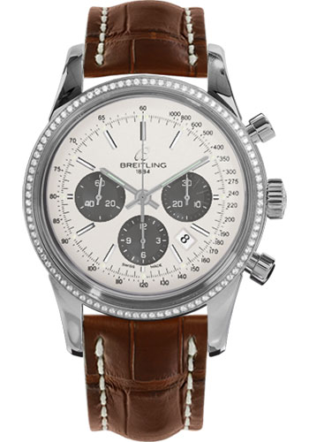 Breitling Watches - Transocean Chronograph Steel - Dia Bezel - Croco Strap - Tang - Style No: AB015253/G724-croco-gold-tang