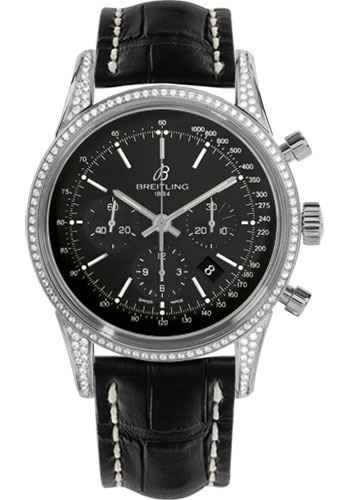 Breitling Watches - Transocean Chronograph Steel - Dia Case - Croco Strap - Tang - Style No: AB0152AF/BA99-croco-black-tang