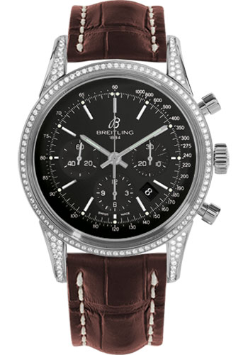 Breitling Watches - Transocean Chronograph Steel - Dia Case - Croco Strap - Tang - Style No: AB0152AF/BA99-croco-brown-tang