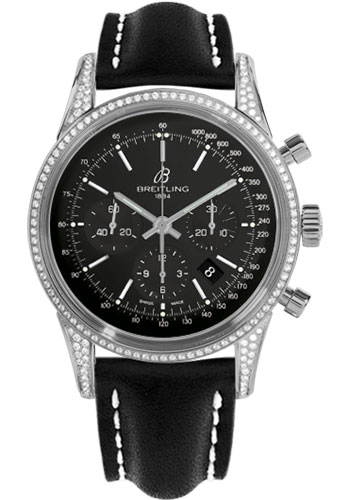 Breitling Watches - Transocean Chronograph Steel - Dia Case - Leather Strap - Tang - Style No: AB0152AF/BA99-leather-black-tang