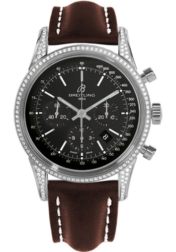 Breitling Watches - Transocean Chronograph Steel - Dia Case - Leather Strap - Deployant - Style No: AB0152AF/BA99-leather-brown-deployant