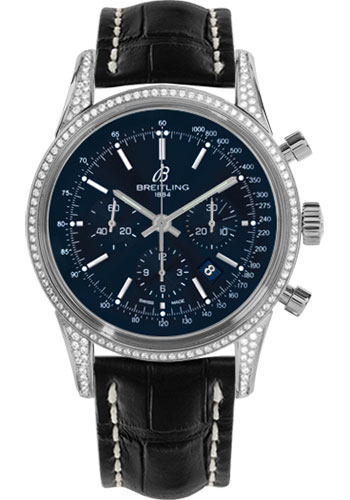 Breitling Watches - Transocean Chronograph Steel - Dia Case - Croco Strap - Tang - Style No: AB0152AF/C860-croco-black-tang