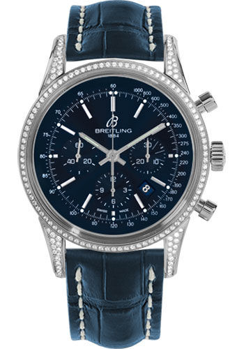 Breitling Watches - Transocean Chronograph Steel - Dia Case - Croco Strap - Tang - Style No: AB0152AF/C860-croco-blue-tang