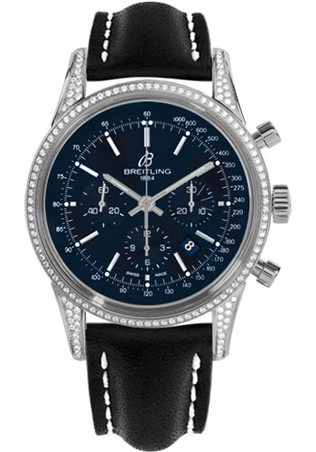 Breitling Watches - Transocean Chronograph Steel - Dia Case - Leather Strap - Deployant - Style No: AB0152AF/C860-leather-black-deployant