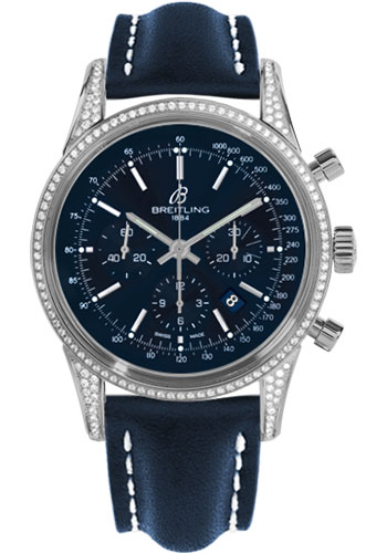 Breitling Watches - Transocean Chronograph Steel - Dia Case - Leather Strap - Deployant - Style No: AB0152AF/C860-leather-blue-deployant