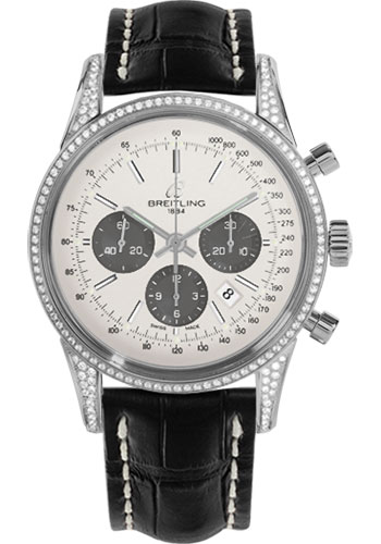 Breitling Watches - Transocean Chronograph Steel - Dia Case - Croco Strap - Tang - Style No: AB0152AF/G724-croco-black-tang