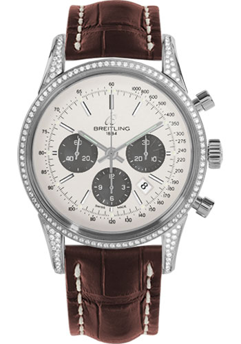 Breitling Watches - Transocean Chronograph Steel - Dia Case - Croco Strap - Tang - Style No: AB0152AF/G724-croco-brown-tang