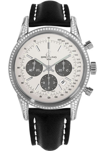 Breitling Watches - Transocean Chronograph Steel - Dia Case - Leather Strap - Deployant - Style No: AB0152AF/G724-leather-black-deployant