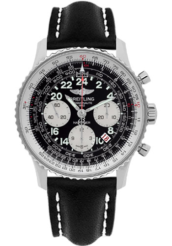 Breitling Watches - Navitimer Cosmonaute Stainless Steel - Style No: AB021012/BB59-leather-black-deployant