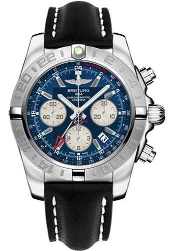 Breitling Watches - Chronomat 44 GMT Stainless Steel on Leather Tang - Style No: AB042011/C851-leather-black-tang