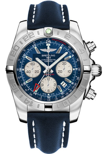 Breitling Watches - Chronomat 44 GMT Stainless Steel on Leather Tang - Style No: AB042011/C851-leather-blue-tang