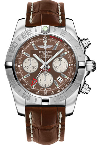 Breitling Watches - Chronomat 44 GMT Stainless Steel on Croco Deployant - Style No: AB042011/Q589-croco-brown-deployant