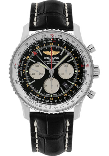 Breitling Watches - Navitimer GMT Croco Strap - Deployant - Style No: AB044121/BD24-croco-black-deployant