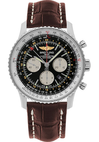 Breitling Watches - Navitimer GMT Croco Strap - Deployant - Style No: AB044121/BD24-croco-brown-deployant