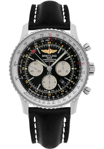 Breitling Watches - Navitimer GMT Leather Strap - Tang - Style No: AB044121/BD24-leather-black-tang