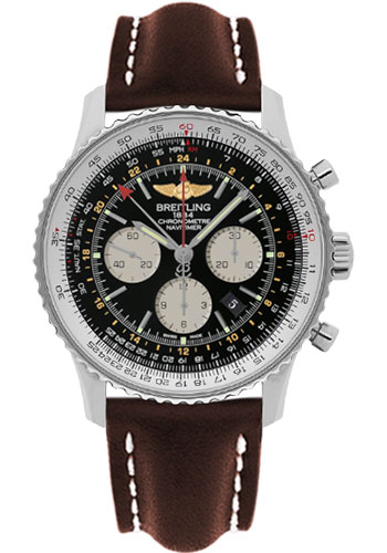 Breitling Watches - Navitimer GMT Leather Strap - Tang - Style No: AB044121/BD24-leather-brown-tang