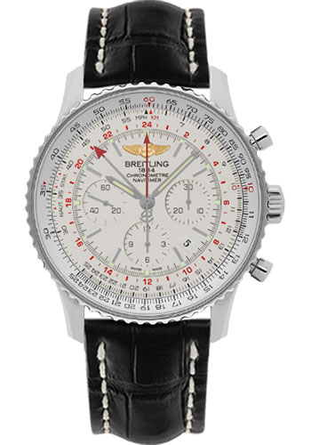 Breitling Watches - Navitimer GMT Croco Strap - Deployant - Style No: AB044121/G783-croco-black-deployant