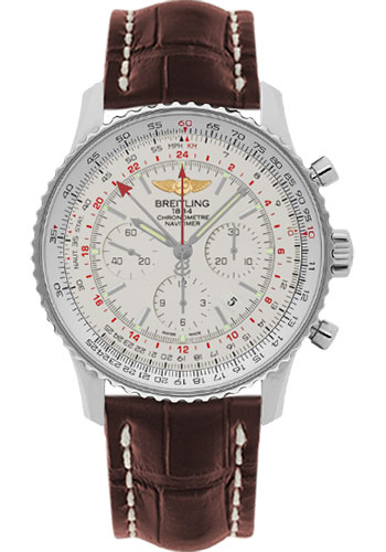 Breitling Watches - Navitimer GMT Croco Strap - Deployant - Style No: AB044121/G783-croco-brown-deployant
