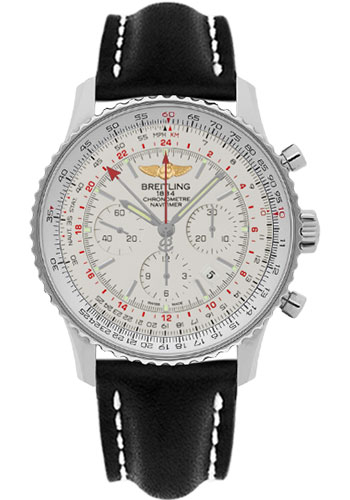 Breitling Watches - Navitimer GMT Leather Strap - Tang - Style No: AB044121/G783-leather-black-tang