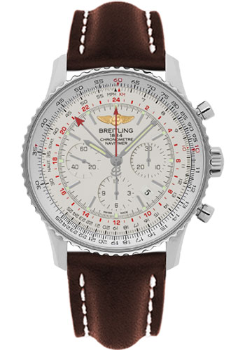 Breitling Watches - Navitimer GMT Leather Strap - Tang - Style No: AB044121/G783-leather-brown-tang