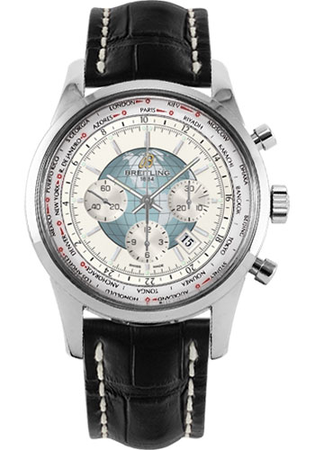 Breitling Watches - Transocean Chronograph Unitime Stainless Steel - Croco Strap - Deployant - Style No: AB0510U0/A732-croco-black-deployant
