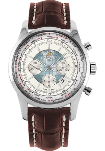 Breitling Watches - Transocean Chronograph Unitime Stainless Steel - Croco Strap - Tang - Style No: AB0510U0/A732-croco-brown-tang