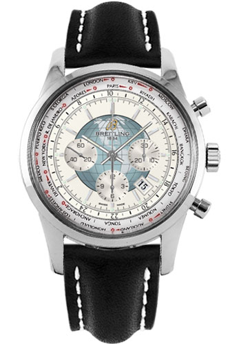 Breitling Watches - Transocean Chronograph Unitime Stainless Steel - Leather Strap - Deployant - Style No: AB0510U0/A732-leather-black-deployant