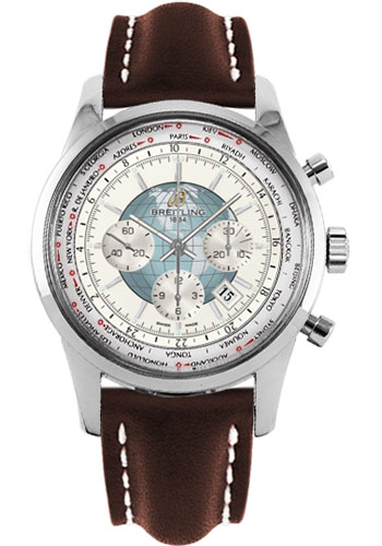 Breitling Watches - Transocean Chronograph Unitime Stainless Steel - Leather Strap - Tang - Style No: AB0510U0/A732-leather-brown-tang