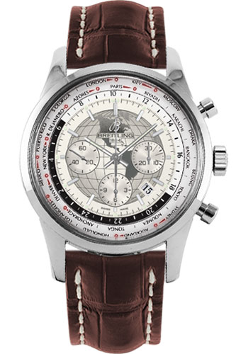 Breitling Watches - Transocean Chronograph Unitime Stainless Steel - Croco Strap - Tang - Style No: AB0510U0/A790-croco-brown-tang