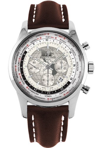 Breitling Watches - Transocean Chronograph Unitime Stainless Steel - Leather Strap - Tang - Style No: AB0510U0/A790-leather-brown-tang
