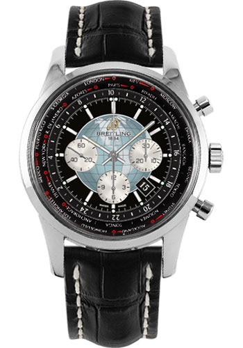 Breitling Watches - Transocean Chronograph Unitime Stainless Steel - Croco Strap - Tang - Style No: AB0510U4/BB62-croco-black-tang