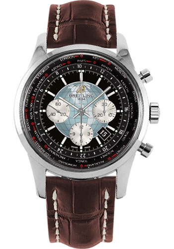 Breitling Watches - Transocean Chronograph Unitime Stainless Steel - Croco Strap - Tang - Style No: AB0510U4/BB62-croco-brown-tang