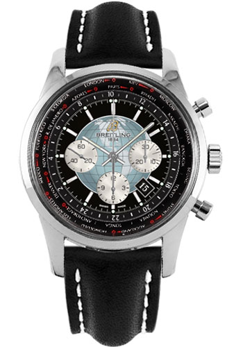 Breitling Watches - Transocean Chronograph Unitime Stainless Steel - Leather Strap - Tang - Style No: AB0510U4/BB62-leather-black-tang
