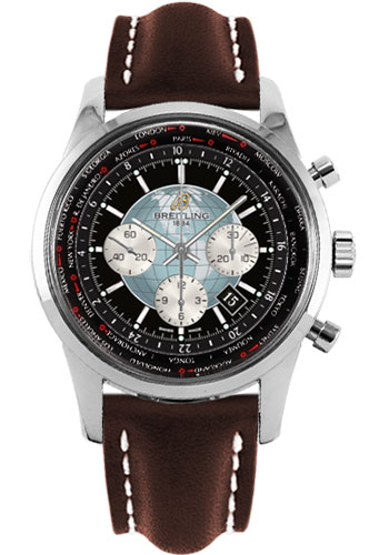 Breitling Watches - Transocean Chronograph Unitime Stainless Steel - Leather Strap - Deployant - Style No: AB0510U4/BB62-leather-brown-deployant