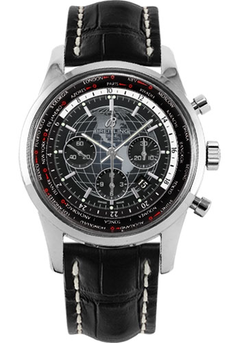 Breitling Watches - Transocean Chronograph Unitime Stainless Steel - Croco Strap - Tang - Style No: AB0510U4/BE84-croco-black-tang
