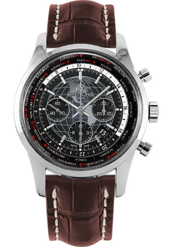 Breitling Watches - Transocean Chronograph Unitime Stainless Steel - Croco Strap - Tang - Style No: AB0510U4/BE84-croco-brown-tang