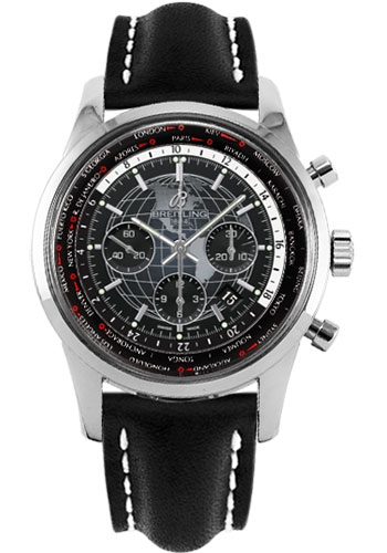 Breitling Watches - Transocean Chronograph Unitime Stainless Steel - Leather Strap - Tang - Style No: AB0510U4/BE84-leather-black-tang