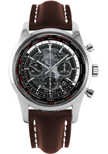Breitling Watches - Transocean Chronograph Unitime Stainless Steel - Leather Strap - Tang - Style No: AB0510U4/BE84-leather-brown-tang