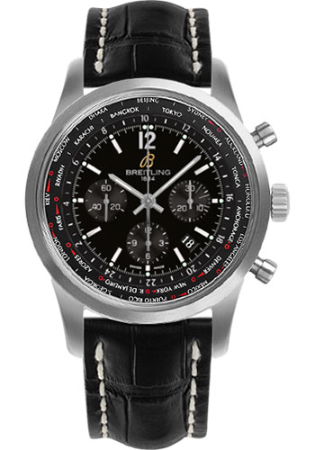 Breitling Watches - Transocean Unitime Pilot Satin Steel - Croco Strap - Style No: AB0510U6/BC26-croco-black-tang