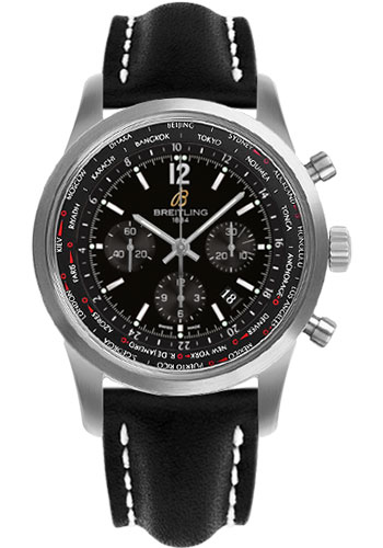 Breitling Watches - Transocean Unitime Pilot Satin Steel - Leather Strap - Style No: AB0510U6/BC26-leather-black-deployant
