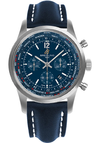 Breitling Watches - Transocean Unitime Pilot Satin Steel - Leather Strap - Style No: AB0510U9/C879-leather-blue-deployant