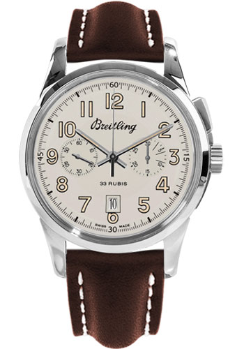 Breitling Watches - Transocean Chronograph 1915 Leather Strap - Tang - Style No: AB141112/G799-leather-brown-tang