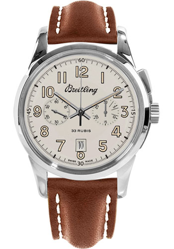 Breitling Watches - Transocean Chronograph 1915 Leather Strap - Tang - Style No: AB141112/G799-leather-gold-tang