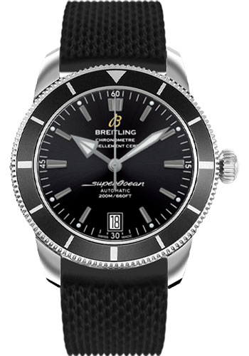 Breitling Watches - Superocean Heritage II 42 Aero Classic Rubber Strap - Style No: AB201012/BF73-aero-classic-rubber-black-deployant