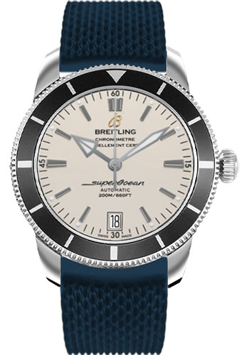 Breitling Watches - Superocean Heritage II 42 Aero Classic Rubber Strap - Style No: AB201012/G827-aero-classic-rubber-blue-deployant