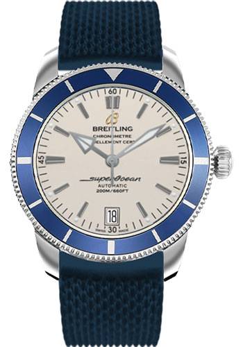Breitling Watches - Superocean Heritage II 42 Aero Classic Rubber Strap - Style No: AB201016/G827-aero-classic-rubber-blue-deployant