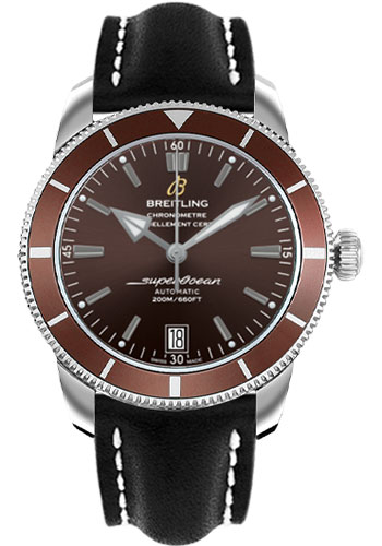 Breitling Watches - Superocean Heritage II 42 Leather Strap - Deployant - Style No: AB201033/Q617-leather-black-deployant
