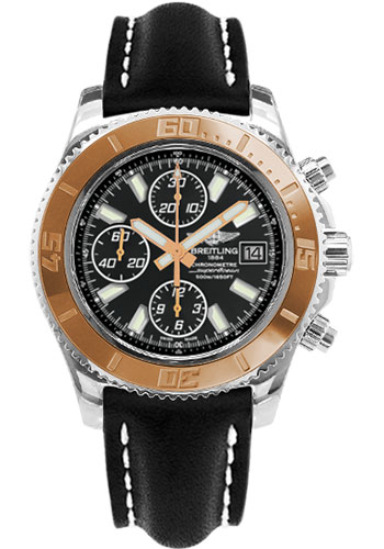 Breitling Watches - Superocean Chronograph II Abyss White Steel and Gold - Style No: C1334112/BA84-leather-black-folding